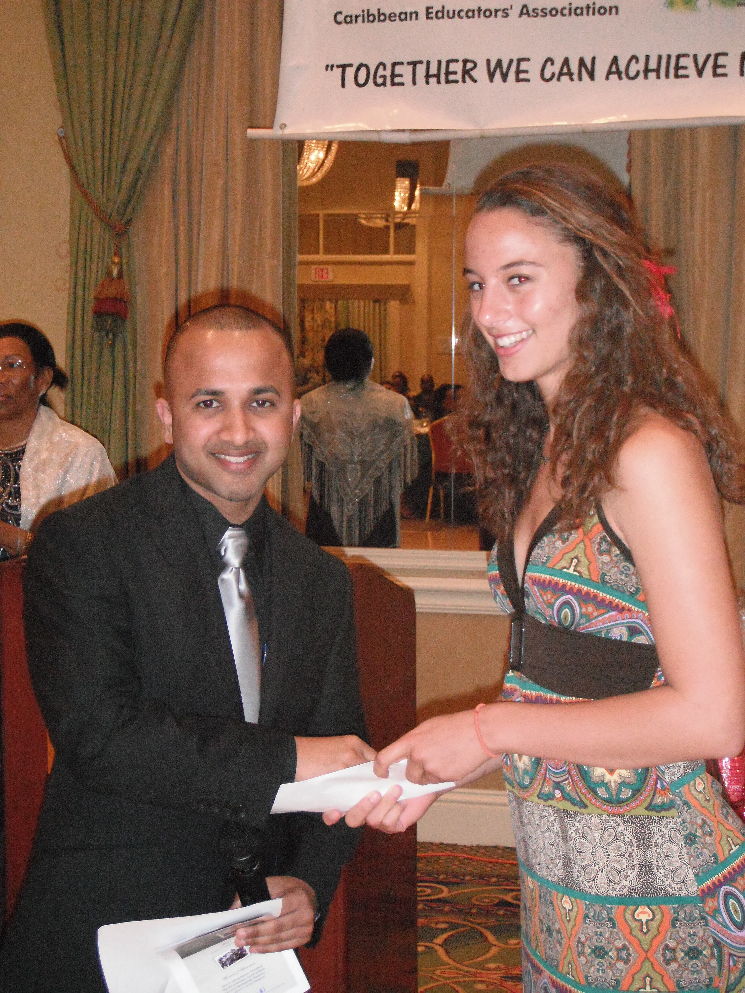 6 Terrence Narinesingh with Scholarship Recipient at Caribbean Educators Association Annual Scholarship Awards 2012