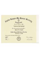 Alpha Kappa Mu Certificate