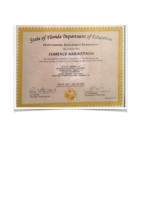 Florida Department of Education Educator Certificate