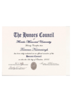 Honors Council Induction Certificate