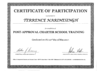 Pre-Approval Charter School Training Certificate