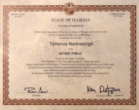 Terrence Narinesingh Florida Notary Public Commission Signed by Governor Rick Scott