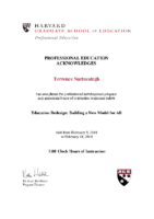 1 Certificate – Harvard Education Redesign – Terrence Narinesingh – 2018