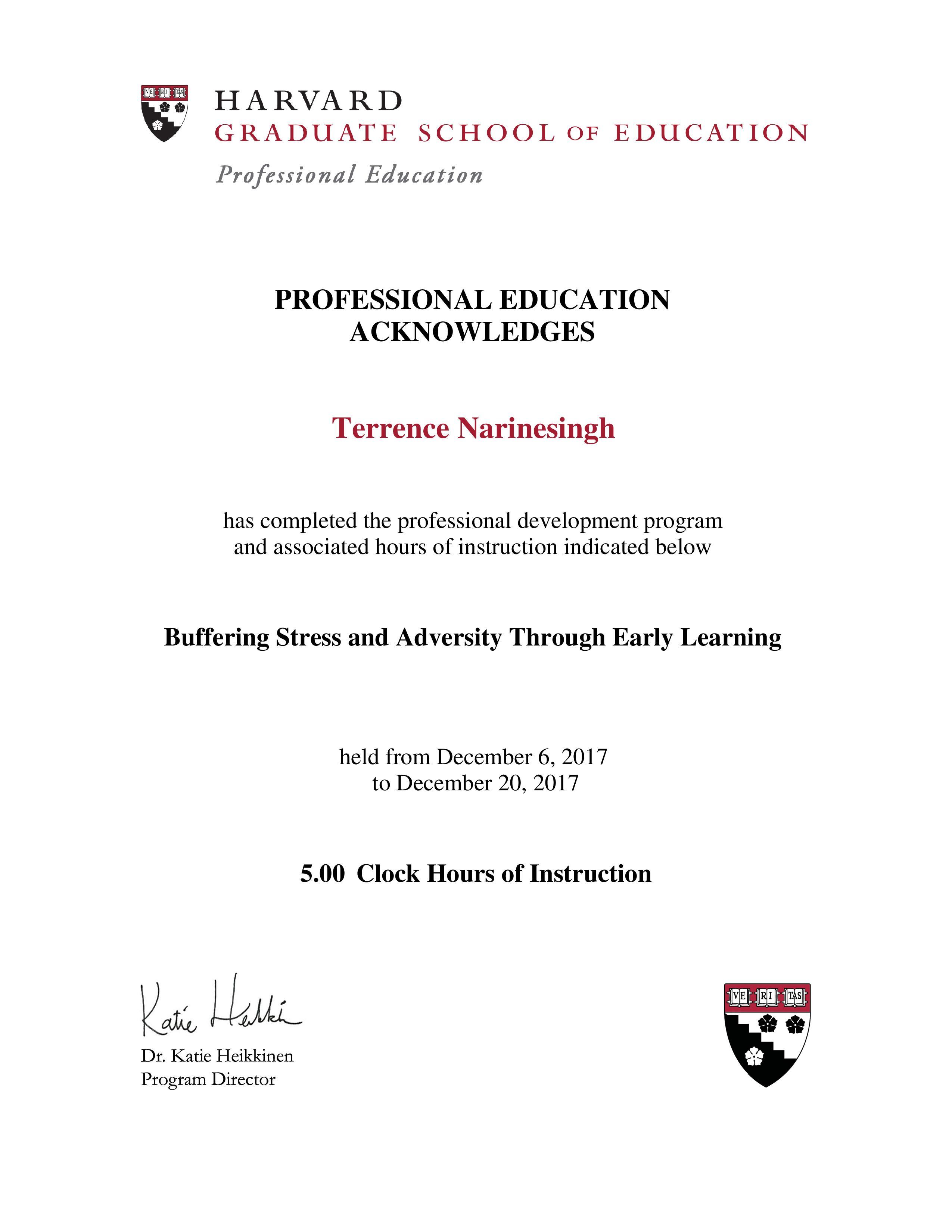 Terrence Narinesinghterrence Narinesingh Harvard Certificate For