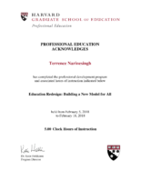 Terrence Narinesingh – Harvard University Certificate in Education Redesign