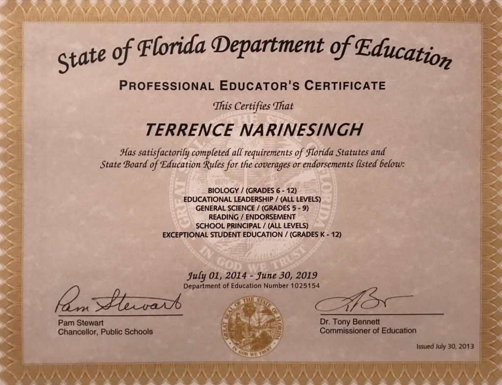 Terrence Narinesinghterrence Narinesingh State Of Florida Department