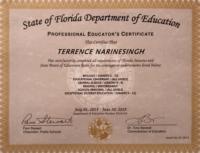 Terrence Narinesingh State of Florida Department of Education Professional Educator Certificate