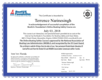 Terrence Narinesingh Boat U.S. Foundation Boating Safety Course Certificate