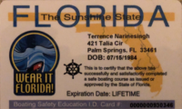Terrence Narinesingh Florida Boating Safety ID Card