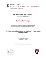 Terrence Narinesingh_Harvard University Certificate 2018_The Opportunity of Bilingualism