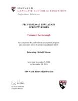 Harvard University Educating Global Citizens Certificate – Terrence Narinesingh