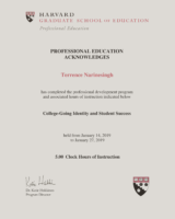 Harvard University Certificate 2019 – College-Going Identity and Student Success