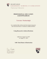 Harvard University Certificate 2019 – Using Research to Inform Decisions