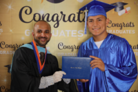 Picture 01 a – Dr. Terrence Narinesingh, Ph.D. at Broward County Public Schools Graduation with graduating senior Enner Flores