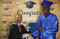 Picture 03 a – Dr. Terrence Narinesingh, Ph.D. at Broward County Public Schools Graduation with graduating senior Dareunte Price